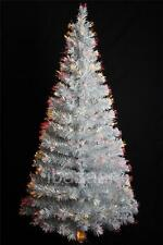 DELUXE 2.1m 7ft 210cm White & Silver Laser Tinsel Fibre Optic Christmas Tree
