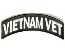 VIETNAM VET WHITE ROCKER EMBROIDERED BIKER PATCH