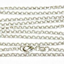 """Sterling Silver Delicate Necklace Link Chain Solid 925 Italian Round Rolo 18"""""""