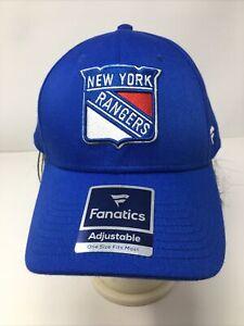 New York NY Rangers Fanatics Blue Adjustable Strapback Baseball Hat Cap New