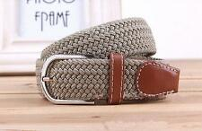 Mens Casual Waistband Belts Woven Stretch Braided Elastic Leather Buckle Belt CB