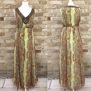 Per Una Maxi Dress UK 18 Multi Snakeskin Print Chiffon Beaded Boho Hippie Gypsy
