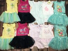 NWT Lot Twin Girl Clothes Outfits Tutu Skirt Short Sleeve Shirt Romper 18 mo