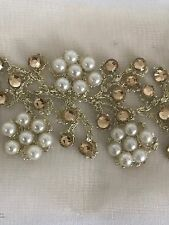 ATTRACTIVE GOLD SLIM INDIAN PEARL CRYSTAL FLOWERS ON NET TRIM/LACE-Sold by METER