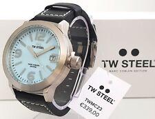 TW Steel marc coblen reloj de pulsera reloj cronógrafo hombre azul 45mm cuero negro nuevo 25
