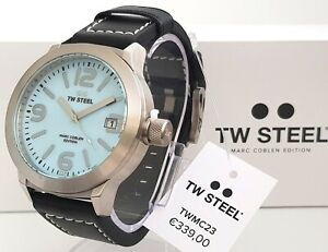 TW STEEL Armbanduhr Herrenuhr Uhr blau Ø 45 Lederband schwarz NEU OHNE BOX !! 25