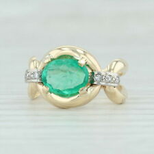 1.25ctw Emerald & Diamond Ring - 14k Yellow White Gold Size 7.25 May Birthstone