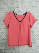 Fashion Bug Top Size 2X Pink Blue Pull Ove V Neck Short Sleeve Casual Work