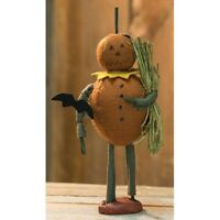 "New Primitive Halloween RUSTIC JACK O LANTERN BAT FIGURINE Figure Doll 9"""