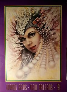 """MARDI GRAS POSTER 1991 NEW ORLEANS, BY JAMES RUSSELL, VINTAGE 22x30"""" NEW NM-MINT"""
