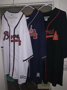 Atlanta Braves Coolbase Jerseys-Set Of 3-White(4xl),Blue(4xl),Black(3XLT)