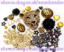 DIY Mobile cell Phone Case gold leopard metal flat back cabochon Deco Den Kit