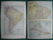 South America Cuba Vintage Original 1895 Crams World Atlas Map Lot