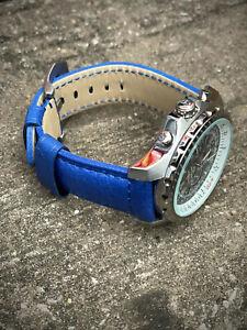 Genuine Blue Leather Watch Strap 22/20mm 24/22mm Lug Watches