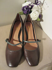 ❤️ LADIES MONSOON BROWN LEATHER COURT SHOES, Size 40 (UK7) low kitten heel