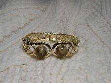 Celtic Irish Connemara Marble Gold Hinged Cuff Bracelet
