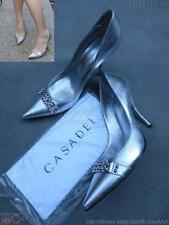 EUC$750 CASADEI Silver Rhinestoned Pumps Leather Heels Shoes 40EU/10US