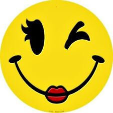 """Winking Winky Girl Smiley Face 12"""" Round Metal Sign Fun Novelty Home Wall Decor"""