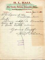 Vintage 1920 HL HALL General Store, Swaim Alabama AL Letterhead Receipt Letter