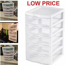 5 Drawer Tower Plastic Organizer Storage Office Cabinet Box Furniture Dresser