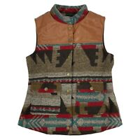 Yahada Southwest Wool Blend Vest Blanket Aztec Pattern Snap Front Womens Small