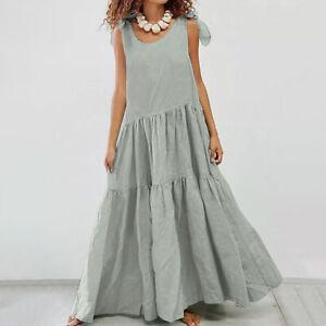 ZANZEA Women Linen Cotton Sleeveless Long Shirt Dress Party Cocktail Sundress US