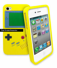 Retro Gameboy Silicone Skin Case Cover iPhone 5 5S Yellow Includes Screen Guard