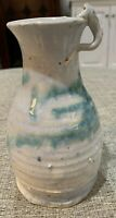 "Vintage Hand Painted Art Pottery Pitcher Blue and Off White 6"" Tall 3"" Diameter"