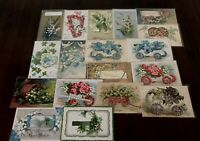 Pretty Lot of 18 Vintage Greetings Postcards w. Lily of the Valley Flowers-b405