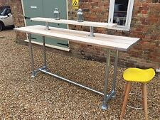 INDUSTRIAL SCAFFOLD RETRO VINTAGE BREAKFAST BAR, PARTY TABLE, GALVANIZED STEEL