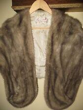 Fur Salon Eaton of Canada Sapphire Grey Silver Mink Fur Stole Shawl Medium Large