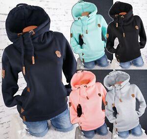 Damen Hoodie Kapuzenpullover Sweatshirt warmer Fleece Pulli Uni M L XL 2XL 3XL