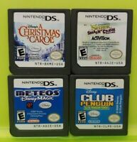 Nintendo DS Lite 2ds 3ds Disney Game Lot Shrek Meteos Penguin Christmas Carol