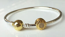 PANDORA Silver Bangle Bracelet With 14k Gold Plated Clasp 590713 Authentic 19cm