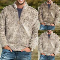 Mens Winter Warm Sweatshirt Hoodie Polar Fleece Zip Pullover Outwear Overcoat