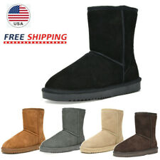 Women's Winter Warm Faux Fur Lined Snow Boots Sheepskin Suede Mid Calf Boots