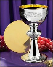 Nickel Plated Brass Ornamented Chalice and Paten Set, 10 Ounce