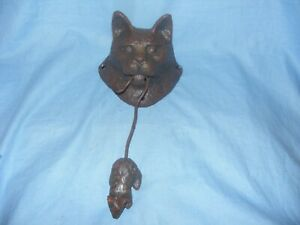 Cat And Mouse Door Knocker Cast Iron Heavy Garden Man Cave Shed House