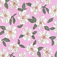 PINK WITH A DESIGN OF WHITE FLOWERS - 100%COTTON FABRIC FQ'S