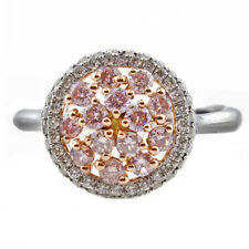1.93ct Natural Fancy Pink & Yellow Diamonds Engagement Ring 18K Solid Gold 9G