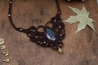 Elegant Labradorite Macrame Handmade Necklace Pendant Natural Healing Gemstone