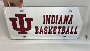 NEW IU Indiana University Hoosiers Basketball Mirrored Acrylic License Plate