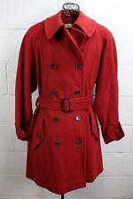 CALVIN KLEIN Saks Fifth Ave Red 100% Merino Wool Belted Peacoat Jacket Coat 10