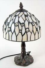Table Lamp with Shade White Cream Stained Glass Tiffany style Lamp with Shade
