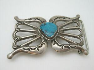 Beautiful Wilson Begay Navajo Sandcast Silver & Turquoise Belt Buckle