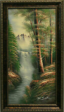 Forest Waterfall Stream Mountains Rural Woods Landscape Art FRAMED OIL PAINTING
