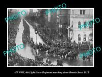 OLD LARGE HISTORIC PHOTO OF AUSTRALIAN ANZACS, WWI 4th LIGHT HORSE REGIMENT 1915