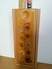 Wooden  pencils holder box sliding top real flowers on top
