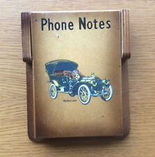 Vintage Telephone Call Notepad & Wooden Holder, Packard 1908 Classic Car Picture