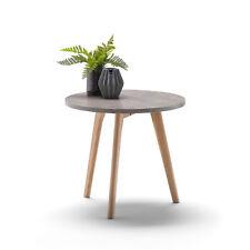 Scandinavian Round Side Table CONCRETE Stone Look Light Wood Solid Oak Legs